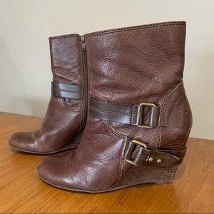 Nine West brown wedge boots